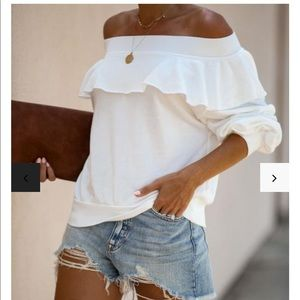 Vici Here & There off shoulder ruffle pullover